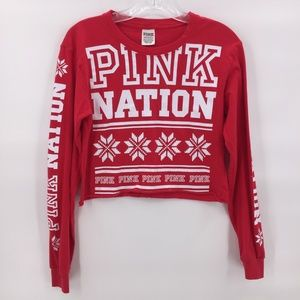 Like New Pink red Christmas  cropped red t shirt